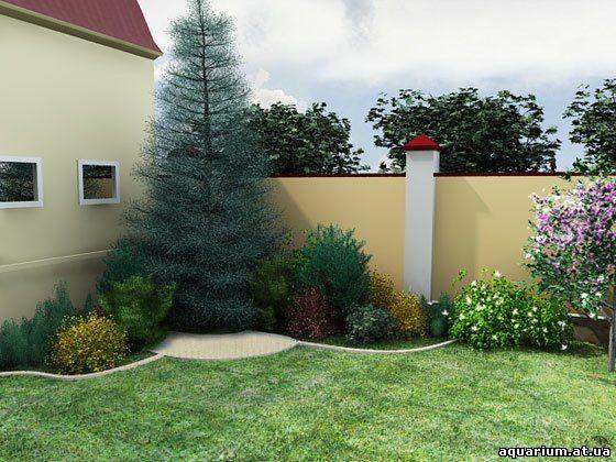 Ландшафтный дизайн перед домом фото